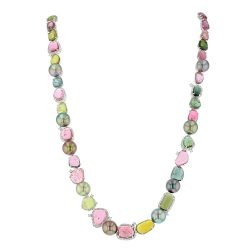 Tourmaline Cabochon & Diamond Necklace