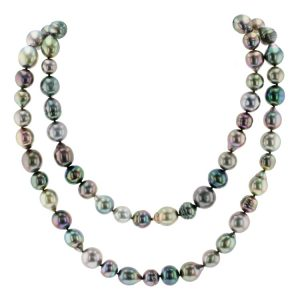 Harvest Strand Multicolor Pearl Sautoir, Tahitian Pearl Jewelry Necklace Colliers de Perles de Tahiti or bijoux