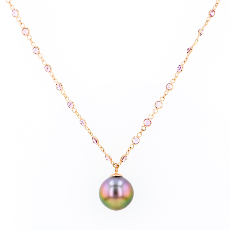 Pink sapphire necklace hinerava jewelry tahitian pearl jewelry tahitian pearl necklace luxury pearls aloadofball Image collections