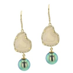 White Geode Pearl and Diamond Earrings