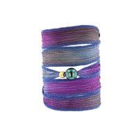 Tahitian Pearl Jewelry bracelet de Perles de Tahiti bijoux soie silk choker, Purple Iris Silk Pearl Bracelet
