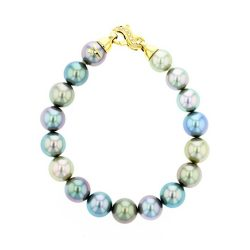 Multicolor Pearl Yellow Gold Bracelet, Diamonds Tahitian Pearl Gold Jewelry bracelet de Perles de Tahiti or bijoux,