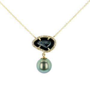 Geode Pearl and Diamond Necklace
