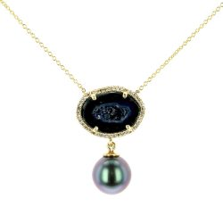 Black Geode Pearl and Diamond Yellow Gold Necklace , Geode Pearl and Diamond Earrings, Geode Pearl and Diamond Earrings , Gem Tahitian Pearl Gold Jewelry Necklace Colliers de Perles de Tahiti or bijoux