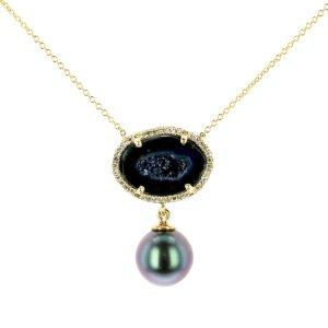 Black Geode Pearl and Diamond Yellow Gold Necklace , Geode Pearl and Diamond Earrings, Geode Pearl and Diamond Earrings , Gem Tahitian Pearl Gold Jewelry Necklace Colliers de Perles de Tahiti or bijoux