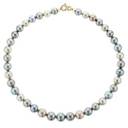 Diamonds Tahitian Pearl Gold Jewelry Necklace Colliers de Perles de Tahiti or bijoux