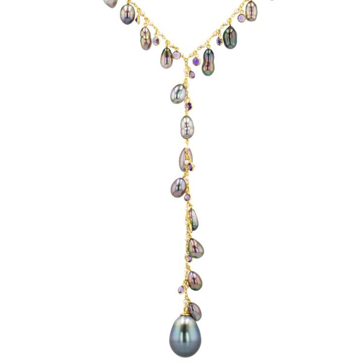amethyst keshi Tahitian Pearl gold Jewelry neckalce collier de perle de tahiti bijoux or