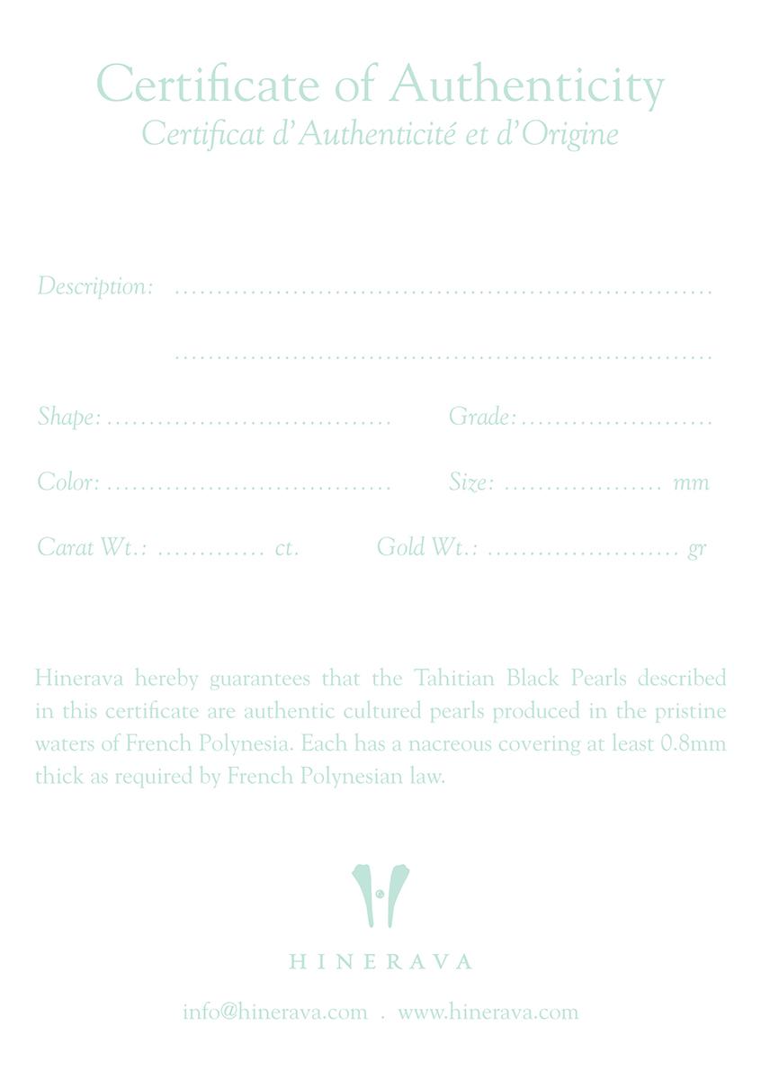 Hinerava Certificat of Authenticity